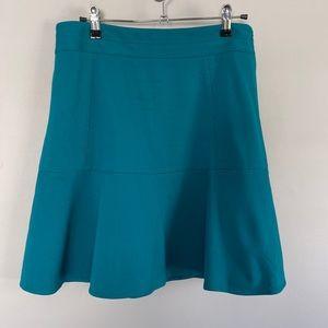 WHBM flare trumpet mini skirt teal